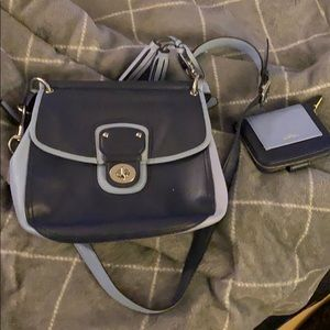 Coach blue purse and matching wallet